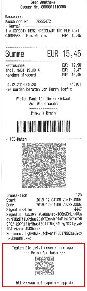 infocode als zugang auf kassenbon aufdrucken app